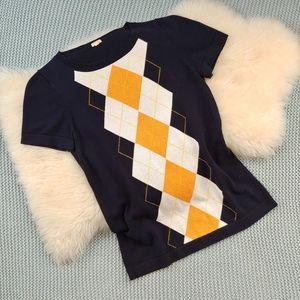 J Crew Argyle Short Sleeve Sweater